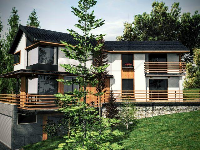 Дизайн на фасада на къща в Герман.