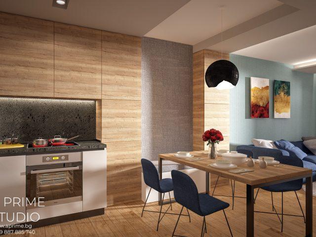 Интериорен дизайн на дневна на апартамент.