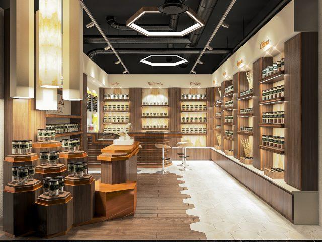 Интериорен дизайн на магазин за мед.