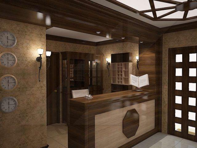 Интериорен проект на рецепция на хотел.