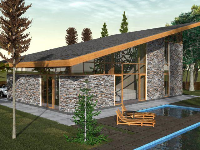 Проект на двуетажна къща с едноскатен покрив