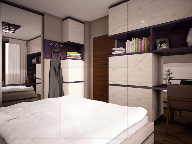Интериор на спалня. Мотописта.