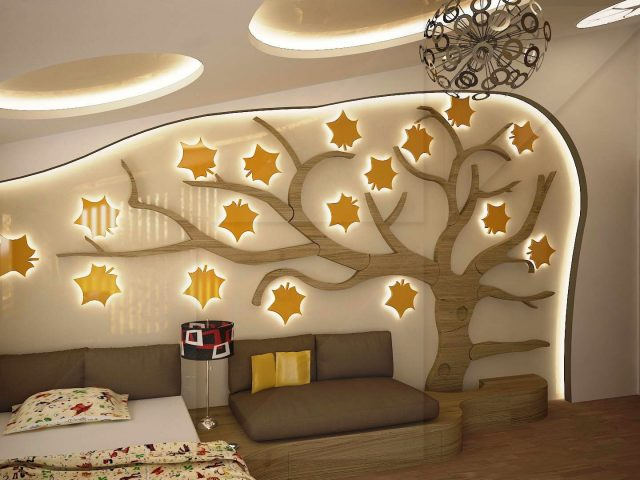 Child's room interior with tree.