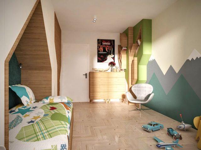 Детска стая с дърво.