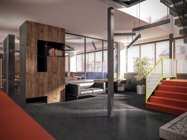 Интериорен проект на офис в промишлена сграда в Дупница.