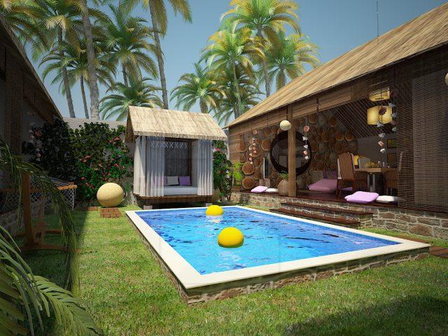 Екстериорен проект и дневна зона на къща в Бали