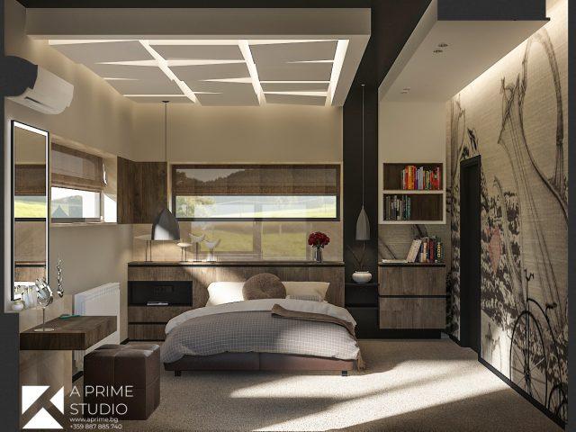 Интериорен дизайн на спалня.